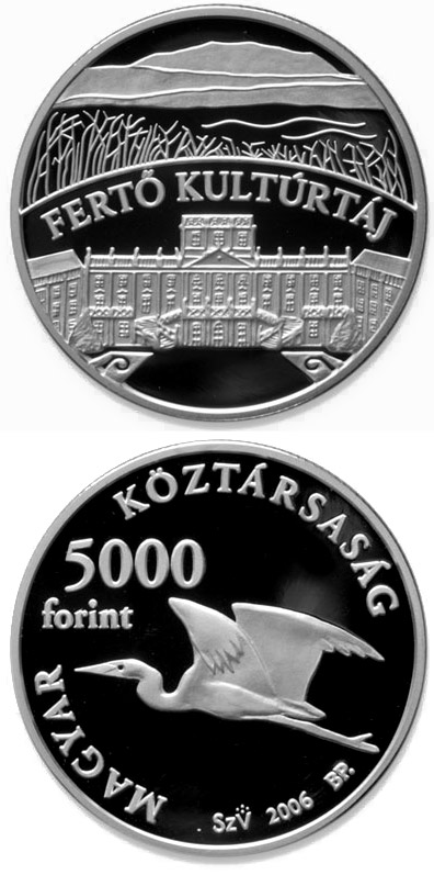 Image of 5000 forint coin - Fertő Cultural Landscape | Hungary 2006.  The Silver coin is of Proof, BU quality.