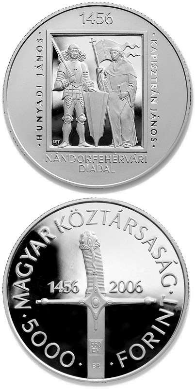Image of 550th Anniversary of the Victory at Nándorfehérvár (Belgrade) – 5000 forint coin Hungary 2006.  The Silver coin is of Proof, BU quality.