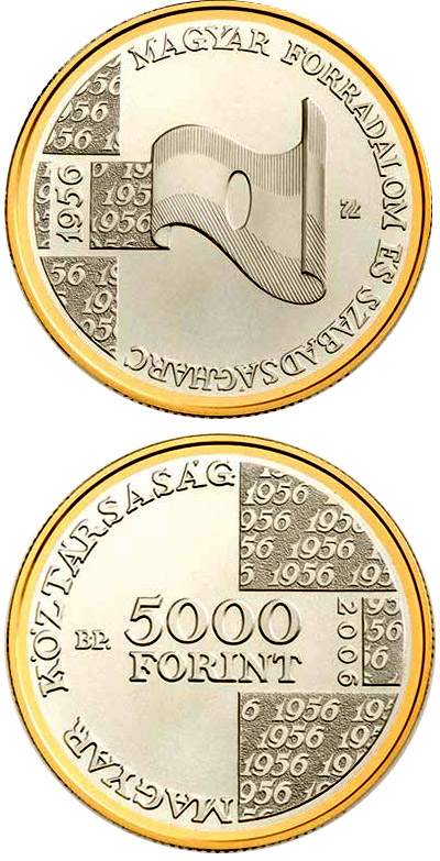 Image of 5000 forint coin - 50th Anniversary of the 1956 Hungarian Revolution and War of Independence | Hungary 2006.  The Silver coin is of Proof, BU quality.