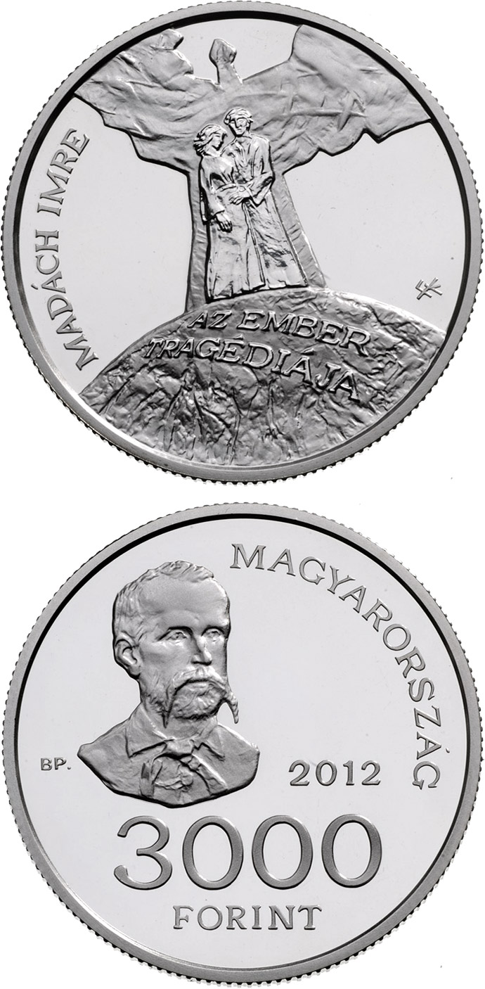 3000 forint 150th Anniversary of the Issue of Imre Madách: The Tragedy of Man - 2012 - Series: Silver forint coins - Hungary