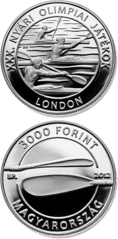Image of 3000 forint coin - XXX. Summer Olympic Games | Hungary 2012.  The Silver coin is of Proof, BU quality.