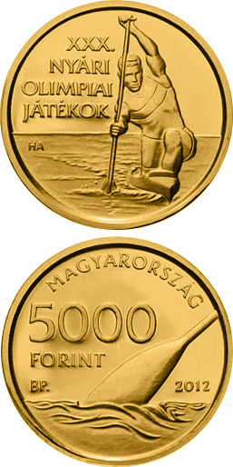 Image of 5000 forint coin XXX. Summer Olympic Games | Hungary 2012.  The Gold coin is of proof-like quality.