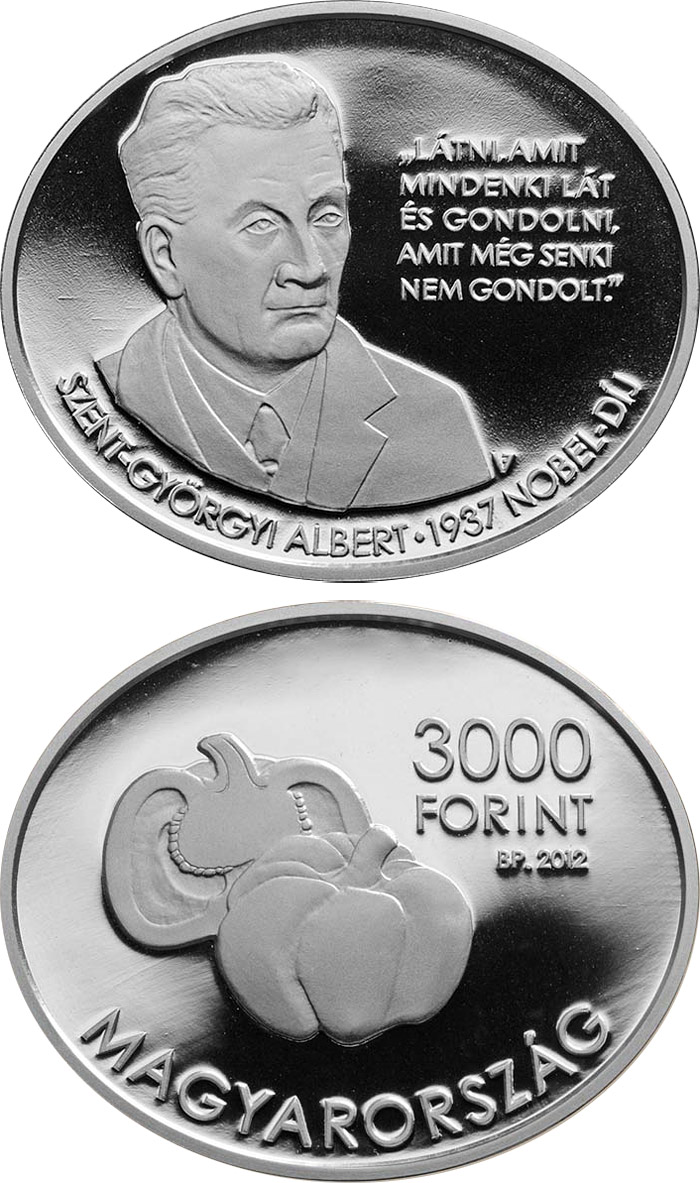 Image of Albert Szent-Györgyi – 3000 forint coin Hungary 2012.  The Silver coin is of Proof, BU quality.