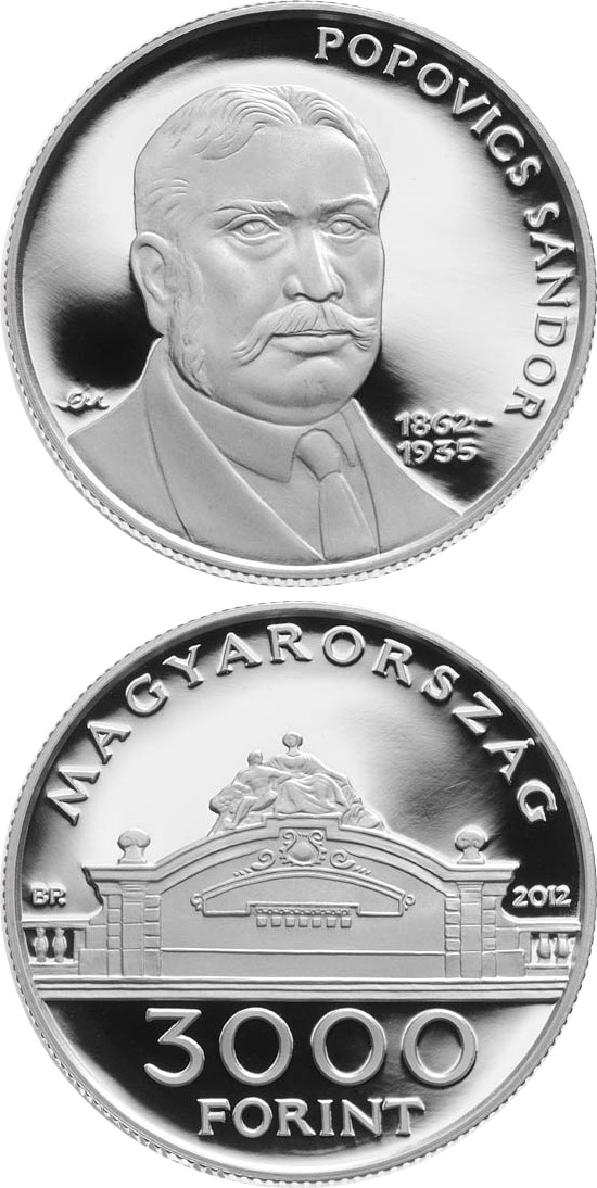 Image of 3000 forint coin - 150th Anniversary of Birth of Sándor Popovics | Hungary 2012.  The Silver coin is of Proof, BU quality.