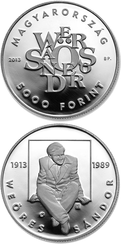 Image of 5000 forint coin - 100th Anniversary Of Birth Of Sándor Weöres | Hungary 2013.  The Silver coin is of Proof quality.