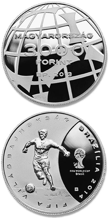 Image of a coin 3000 forint | Hungary | 2014 FIFA World Cup Brazil | 2013