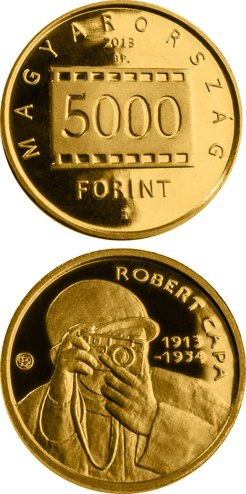 5000 forint 100th Anniversary Of Birth Of Robert Capa - 2013 - Series: Gold forint coins - Hungary