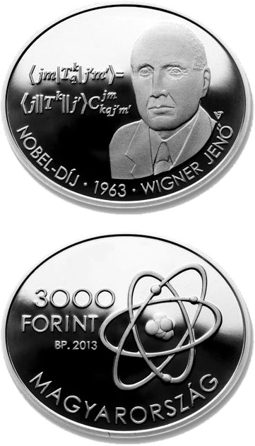 Image of 3000 forint coin - Eugene Paul Wigner | Hungary 2013.  The Silver coin is of Proof, BU quality.