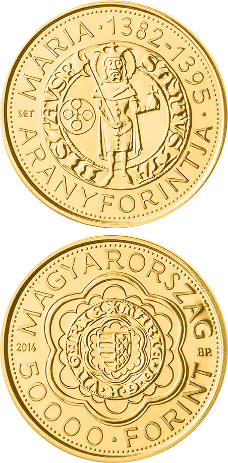Image of 5000 forint coin - The Gold Florin of Mary (1382-1395) | Hungary 2014.  The Gold coin is of Proof quality.