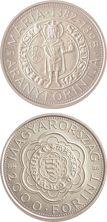 Image of 2000 forint coin - The Gold Florin of Mary (1382-1395) | Hungary 2014.  The German silver (CuNiZn) coin is of BU quality.