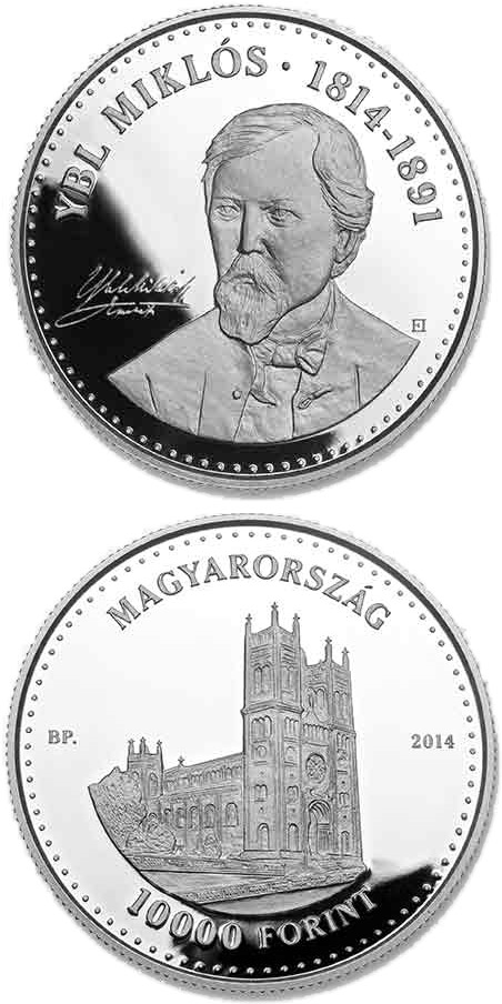 Image of 10000 forint coin - 200th Anniversary of  Birth of MIKLÓS YBL (1814-1891)  | Hungary 2014.  The Silver coin is of Proof quality.