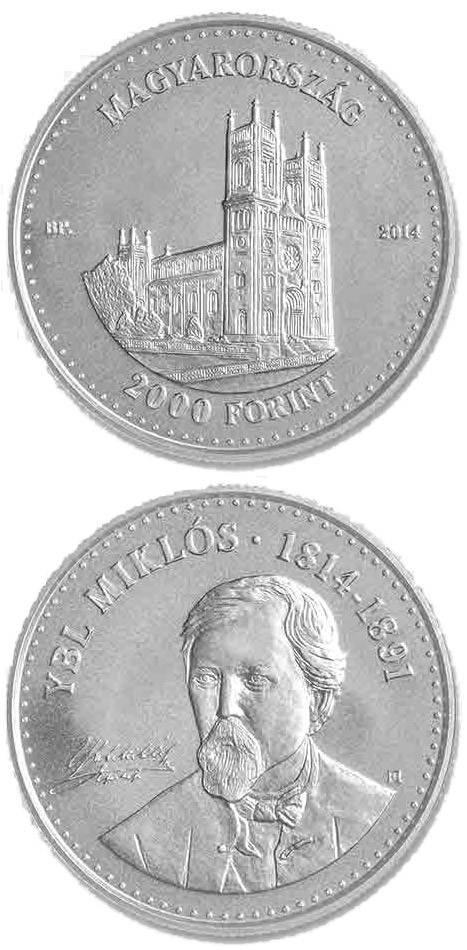 Image of 2000 forint coin - 200th Anniversary of  Birth of MIKLÓS YBL (1814-1891)  | Hungary 2014.  The German silver (CuNiZn) coin is of BU quality.