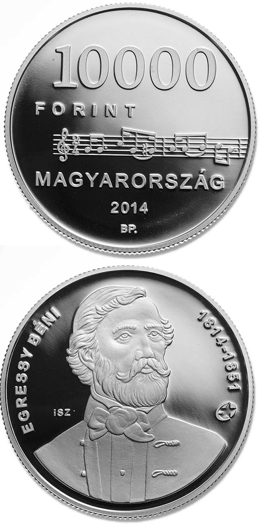 Image of 200th Anniversary of  Birth of BÉNI EGRESSY (1814-1851)  – 10000 forint coin Hungary 2014.  The Silver coin is of Proof quality.