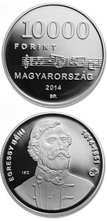 10000 forint coin 200th Anniversary of  Birth of BÉNI EGRESSY (1814-1851)  | Hungary 2014