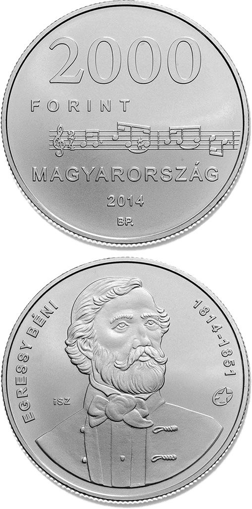 2000 forint 200th Anniversary of  Birth of BÉNI EGRESSY (1814-1851)  - 2014 - Hungary