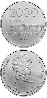 2000 forint coin 200th Anniversary of  Birth of BÉNI EGRESSY (1814-1851)  | Hungary 2014