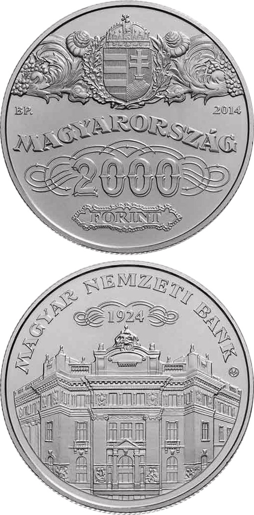 Image of 2000 forint coin - 90th Anniversary of the Foundation of the National Bank of Hungary  | Hungary 2014.  The German silver (CuNiZn) coin is of BU quality.