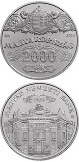 2000 forint coin 90th Anniversary of the Foundation of the National Bank of Hungary  | Hungary 2014