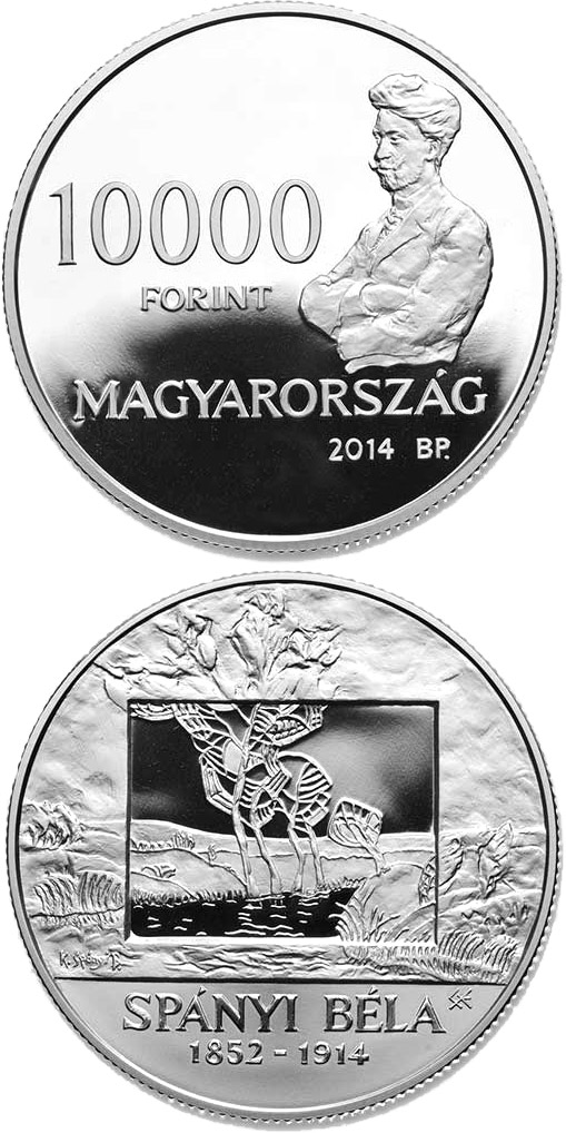Image of 10000 forint coin - 100th Anniversary of Death of BÉLA SPÁNYI (1832-1914)  | Hungary 2014.  The Silver coin is of Proof quality.