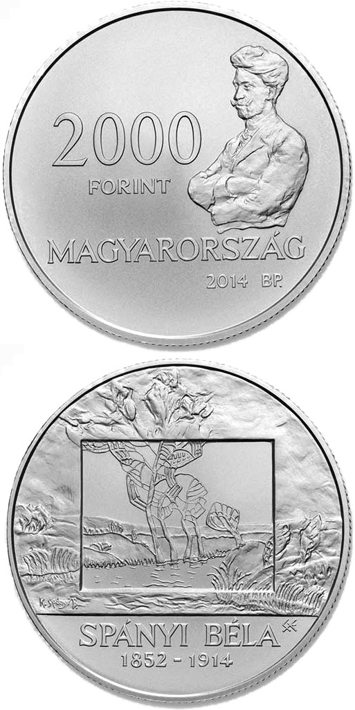 Image of 2000 forint coin 100th Anniversary of Death of BÉLA SPÁNYI (1832-1914)  | Hungary 2014.  The Copper–Nickel (CuNi) coin is of BU quality.