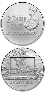 2000 forint coin 100th Anniversary of Death of BÉLA SPÁNYI (1832-1914)  | Hungary 2014