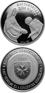 2000 forint coin 25th Anniversary of Foundation of the Hungarian Maltese Charity Service  | Hungary 2014