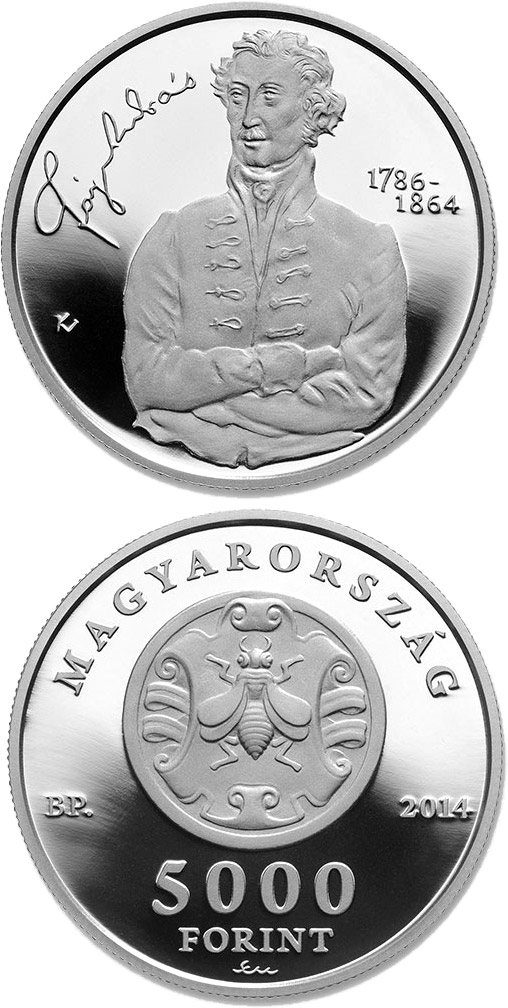 Image of 5000 forint coin - 150th Anniversary of Death of ANDRÁS FÁY (1786-1864) | Hungary 2014.  The Silver coin is of Proof quality.