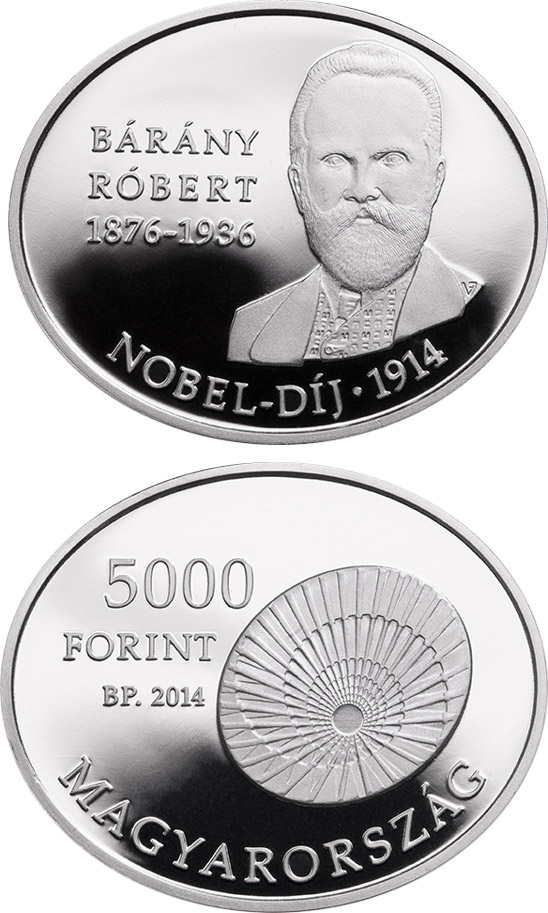 Image of 5000 forint coin 100th Anniversary of the award of the Nobel Prize to RÓBERT BÁRÁNY (1876-1936)  | Hungary 2014.  The Silver coin is of Proof quality.