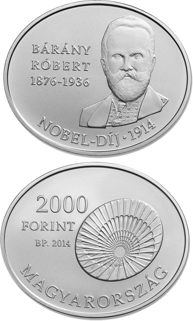 Image of 2000 forint coin - 100th Anniversary of the award of the Nobel Prize to RÓBERT BÁRÁNY (1876-1936)  | Hungary 2014.  The Copper–Nickel (CuNi) coin is of BU quality.