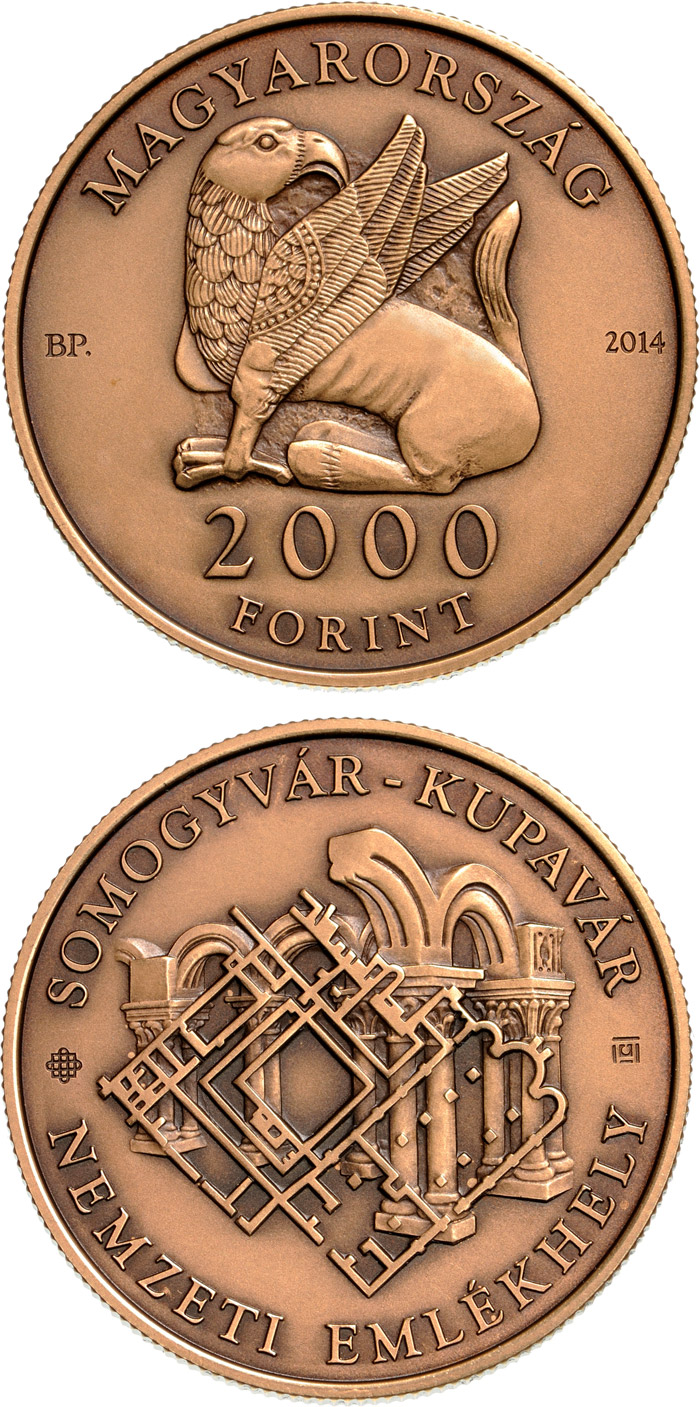 Image of 2000 forint coin - Somogyvár-Kupavár National Memorial place | Hungary 2014