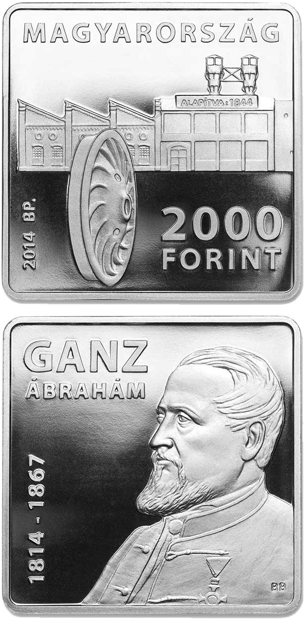 2000 forint 200th Anniversary of Birth of ÁBRAHÁM GANZ (1814-1867) - 2014 - Series: Commemorative 2000 forint coins - Hungary
