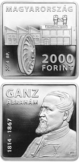 2000 forint coin 200th Anniversary of Birth of ÁBRAHÁM GANZ (1814-1867) | Hungary 2014