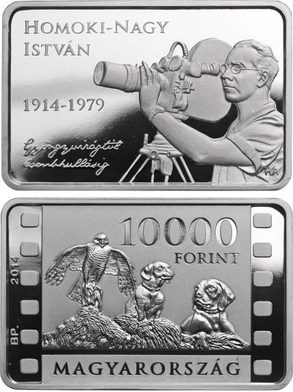 Image of 10000 forint coin - 100th Anniversary of Birth of ISTVÁN HOMOKI-NAGY (1914-1979) | Hungary 2014.  The Silver coin is of Proof quality.