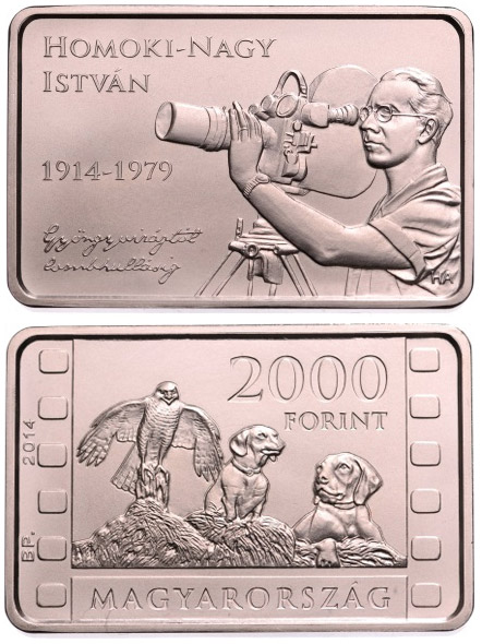 Image of 2000 forint coin - 100th Anniversary of Birth of ISTVÁN HOMOKI-NAGY (1914-1979) | Hungary 2014.  The Copper–Nickel (CuNi) coin is of BU quality.