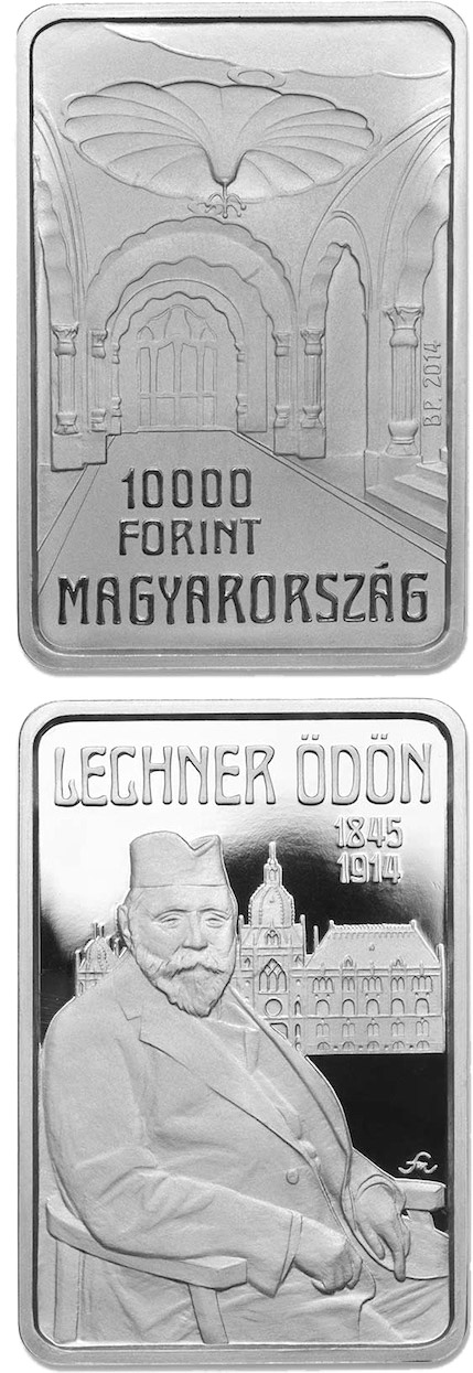 Image of 10000 forint coin - 100th Anniversary of Death of ÖDÖN LECHNER (1845-1914) | Hungary 2014.  The Silver coin is of Proof quality.