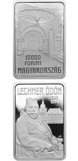 10000 forint coin 100th Anniversary of Death of ÖDÖN LECHNER (1845-1914) | Hungary 2014
