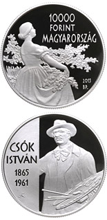 10000 forint coin 150th Anniversary of Birth of István Csók (1865-1961)  | Hungary 2015