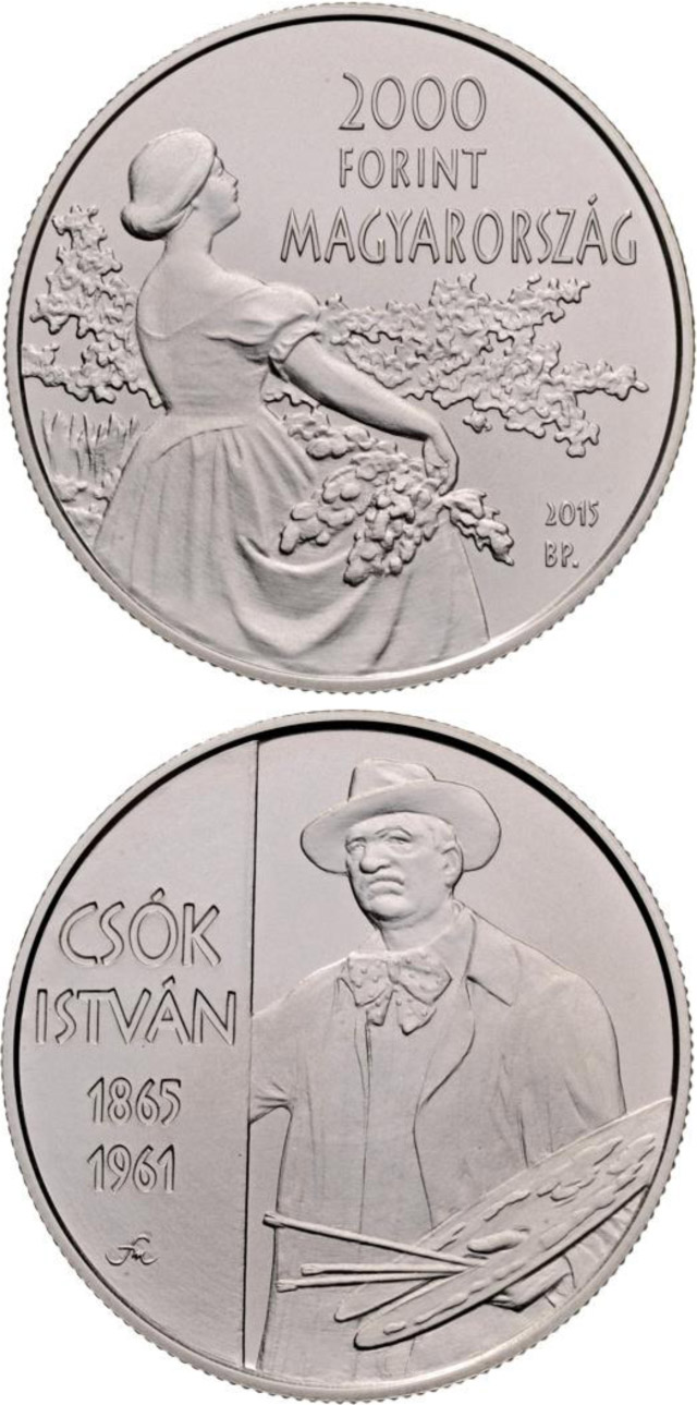 Image of 2000 forint coin - 150th Anniversary of Birth of István Csók (1865-1961)  | Hungary 2015.  The Copper–Nickel (CuNi) coin is of BU quality.