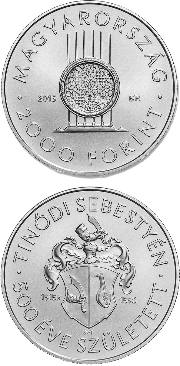 Image of 2000 forint coin - 500th Anniversary of Birth of Sebestyén (Lantos) Tinódi (c1515-1556)  | Hungary 2015.  The Copper–Nickel (CuNi) coin is of BU quality.