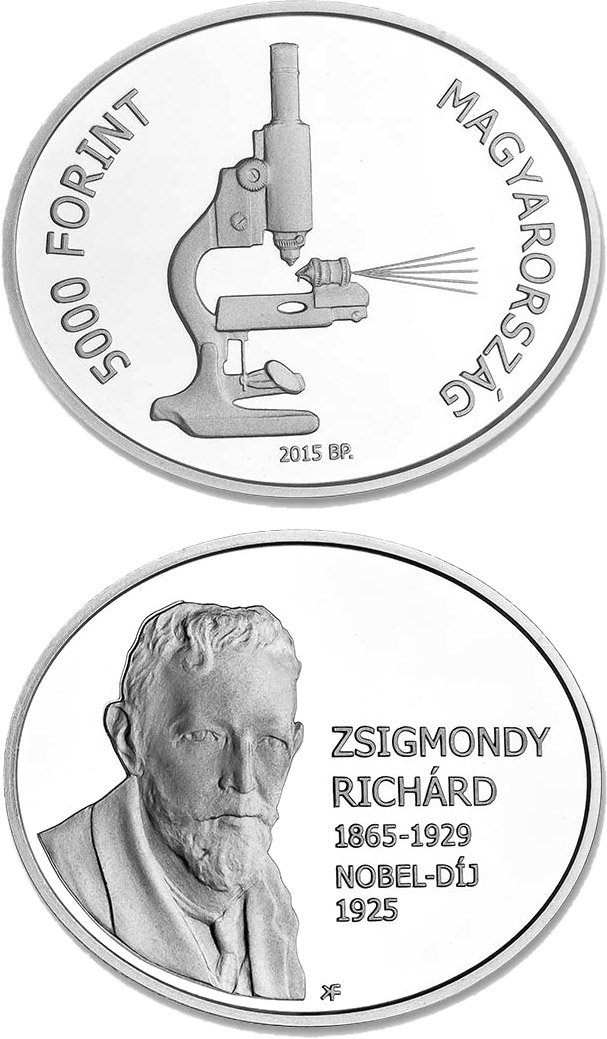 5000 forint 90th Anniversary of the Award of the Nobel Prize to Richard Zsigmondy - 2015 - Series: Silver forint coins - Hungary