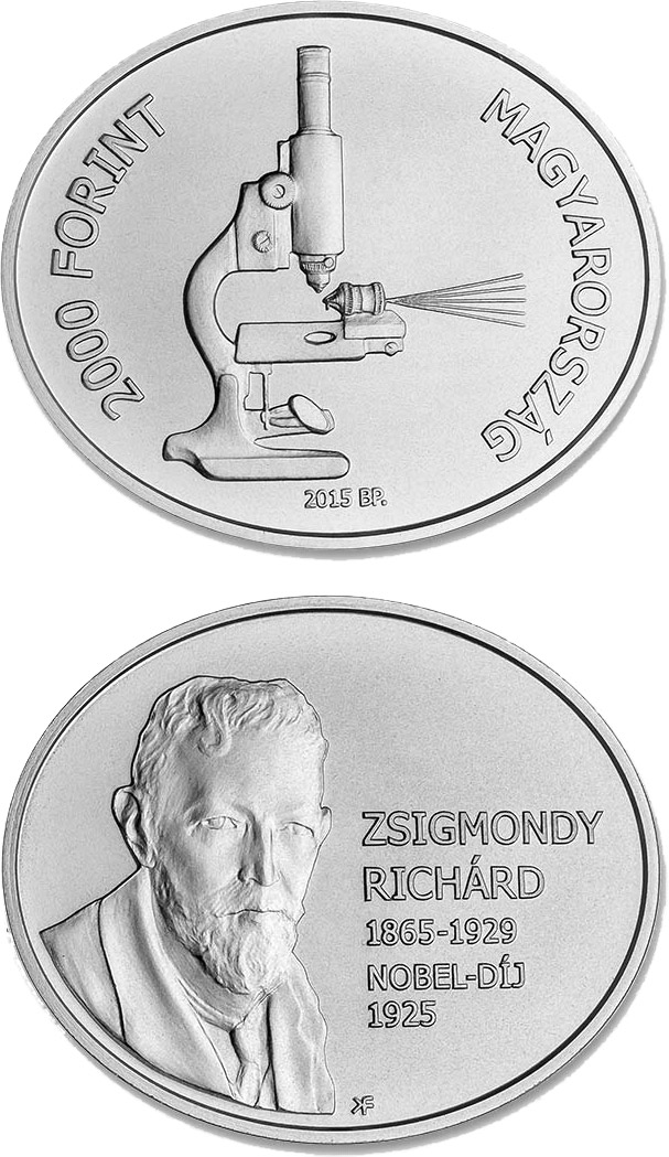 Image of 2000 forint coin 90th Anniversary of the Award of the Nobel Prize to Richard Zsigmondy | Hungary 2015.  The Copper–Nickel (CuNi) coin is of BU quality.