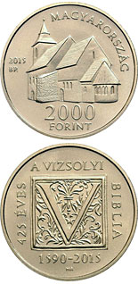 2000 forint coin 425th Anniversary of the First Hungarian Translation of the Bible  | Hungary 2015