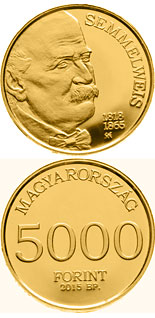 5000 forint coin 150th Anniversary of Death of Ignác Semmelweis  | Hungary 2015