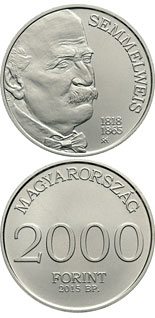 2000 forint coin 150th Anniversary of Death of Ignác Semmelweis  | Hungary 2015