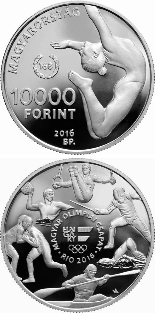 Image of 10000 forint coin - XXXI. Summer Olympic Games | Hungary 2016.  The Silver coin is of Proof quality.