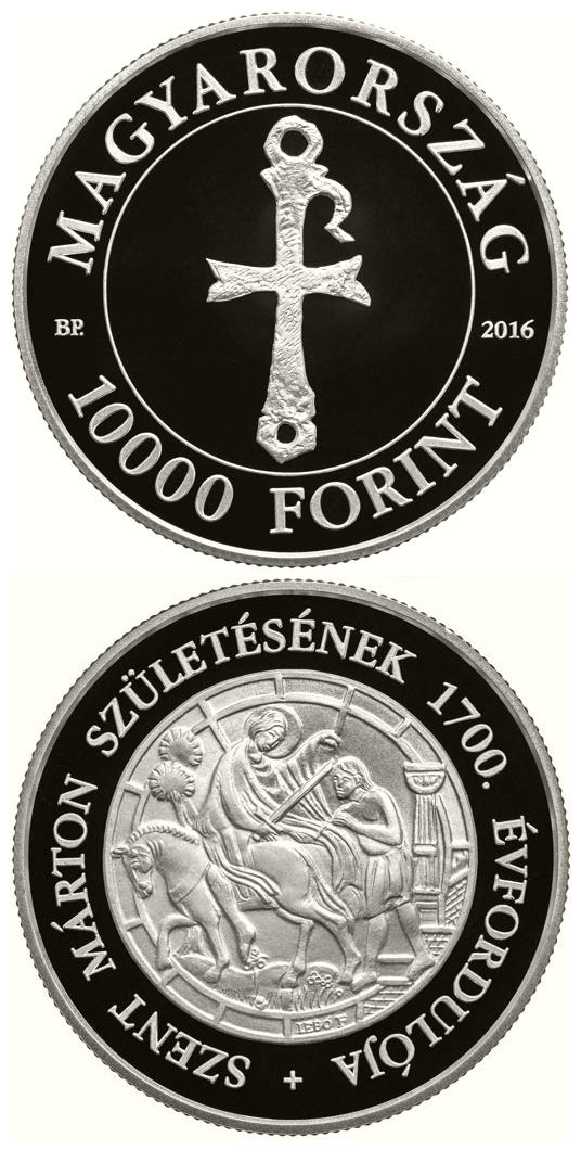 Image of 10000 forint coin - Saint Martin | Hungary 2016.  The Silver coin is of Proof quality.