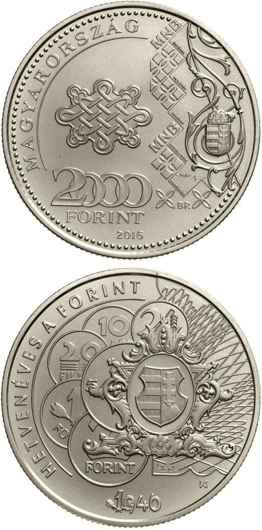 Image of 2000 forint coin 70th Anniversary of the Forint | Hungary 2016.  The Copper–Nickel (CuNi) coin is of BU quality.