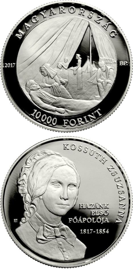Image of 10000 forint coin - 200th Anniversary of Birth of Zsuzsanna Kossuth | Hungary 2017.  The Silver coin is of Proof quality.