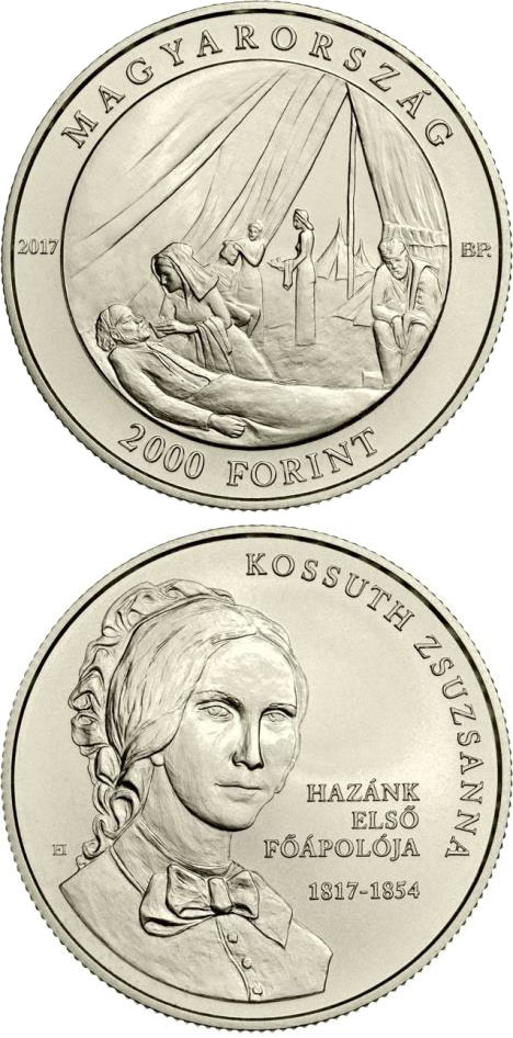 Image of 2000 forint coin - 200th Anniversary of Birth of Zsuzsanna Kossuth | Hungary 2017.  The Copper–Nickel (CuNi) coin is of BU quality.