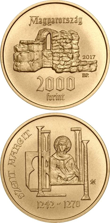 Image of 2000 forint coin - 775th Anniversary of Birth of Saint Margaret of Hungary | Hungary 2017